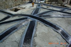 Rinforzo  di volte in muratura con applicazione di fibra di carbonio